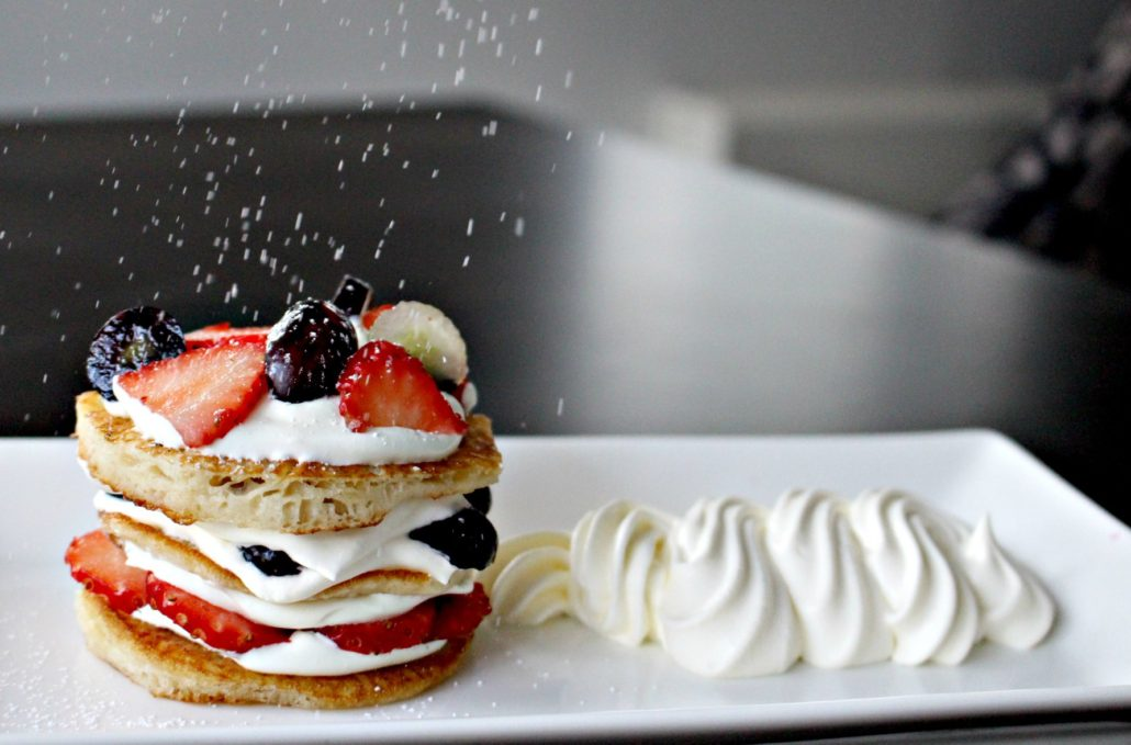 Dining at Parade House in Monmouth - Pancake stack with fresh fruit, berries, and cream