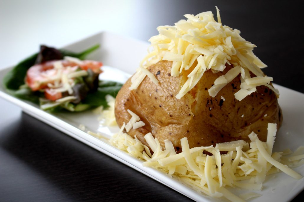 Dining at Parade House in Monmouth - Jacket Potato and Cheese with a side salad