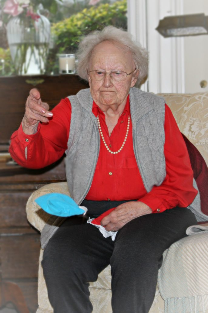 Resident taking part in activities at Parade House in Monmouth