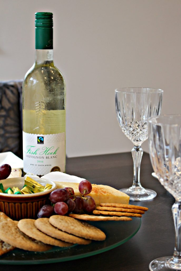 Dining at Parade House in Monmouth - Cheese, Biscuits, Grapes and Sauvignon Blanc wine at Parade House