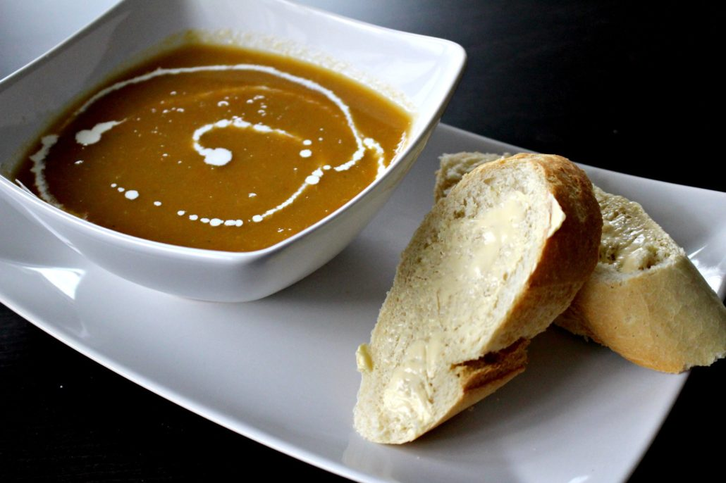 Dining at Parade House in Monmouth - Homemade soup with a drizzle of cream and fresh crusty bread