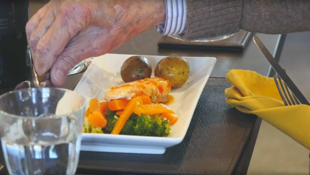 Gentleman enjoying a meal at Parade House in Monmouth